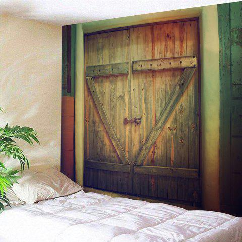 Wall Decor Wooden Door Printed Vintage Tapestry - WOOD COLOR W91 INCH * L71 INCH