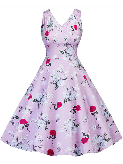Retro Floral Print Pin Up Dress - PINK S