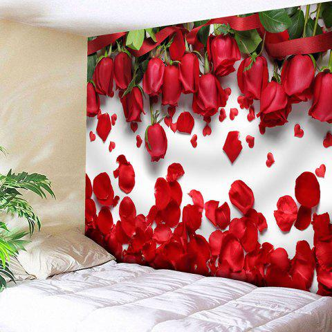 Wall Decor Valentine's Day Roses Pattern Tapestry - RED W79 INCH * L59 INCH