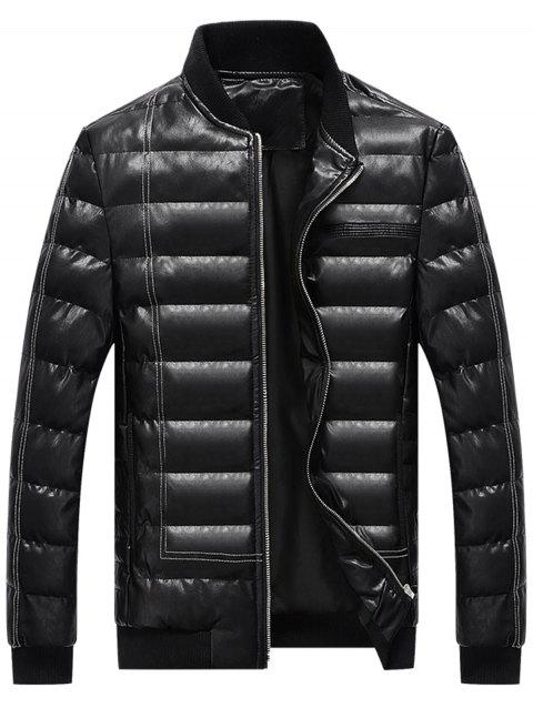 Zip Up Suture PU Leather Padded Jacket - BLACK XL