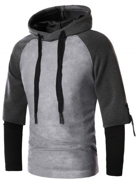 Faux Twinset Drawstring Suede Panel Pullover Hoodie - LIGHT GRAY 3XL