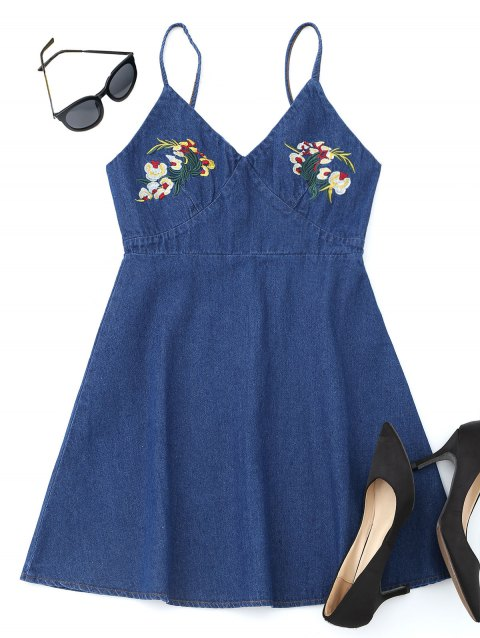 Floral Embroidered Denim Pinafore Mini Dress - DEEP BLUE L
