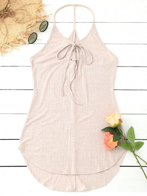 Lace Up Strappy Mini Tunic Dress - APRICOT M