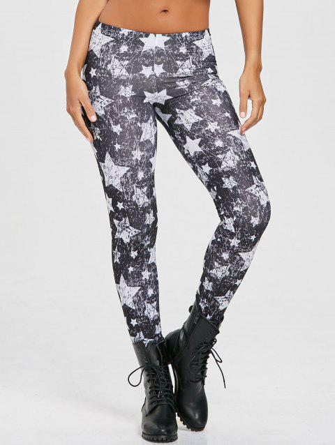 Star Monochrome Leggings - BLACK L