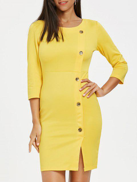 Button Embellished Front Slit Dress - YELLOW L