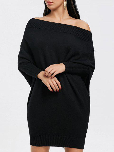 Kintted Off The Shoulder Batwing Sleeve Dress - BLACK S