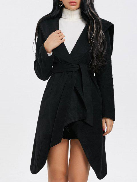 Hooded Belted Wrap Coat - BLACK M