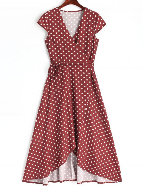 Polka Dot Wrap Asymmetrical Maxi Dress - WINE RED 2XL