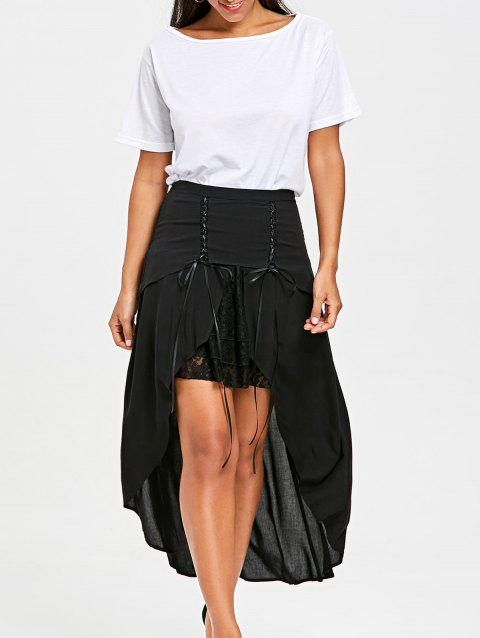 Lace Trim Flowy Overlay Skirt - BLACK L