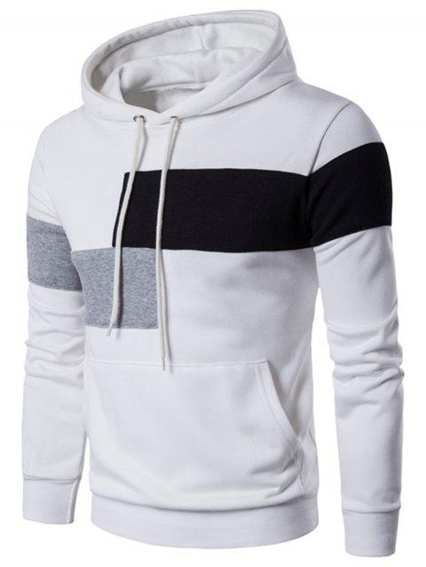Color Block Drawstring Pullover Hoodie - WHITE 3XL