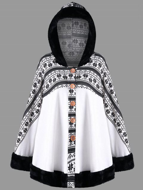Snowflake Printed Hooded Cape Coat - WHITE XL