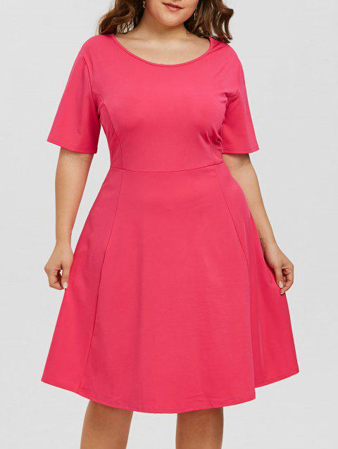 2fff66dbaf8 LIMITED OFFER  2019 Plus Size Scoop Neck Skater Dress In ROSE RED ...