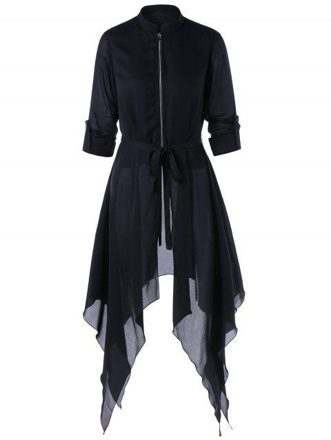 Asymmetrical Handkerchief Skirted Coat - BLACK L
