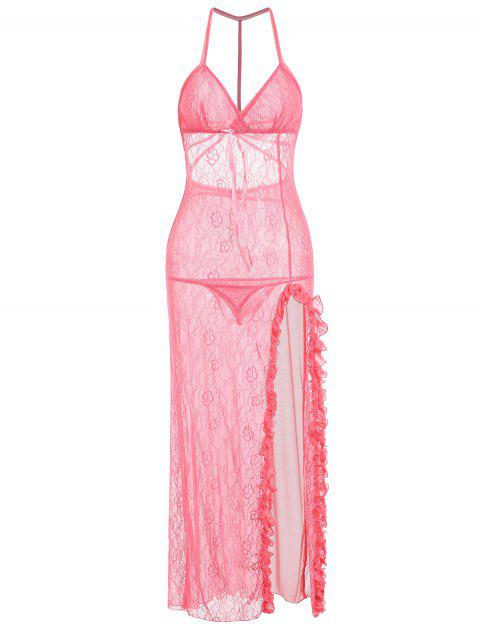 Cami Lace Ruffles Slit Long Dress - PINK ONE SIZE