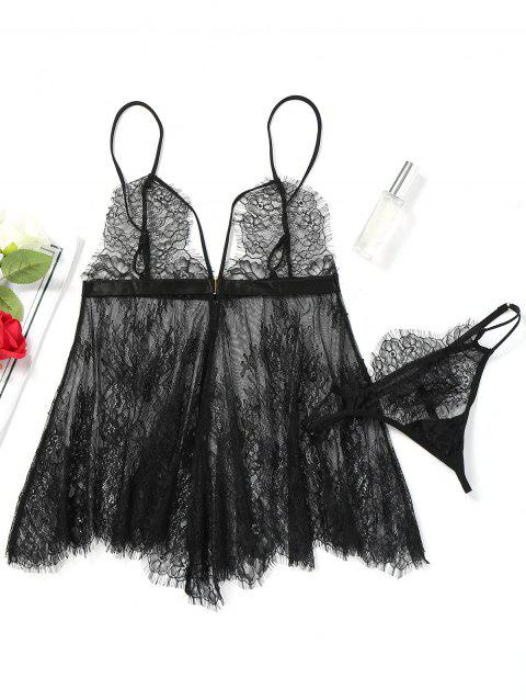Cami Lace Sheer Lingerie Set - BLACK ONE SIZE