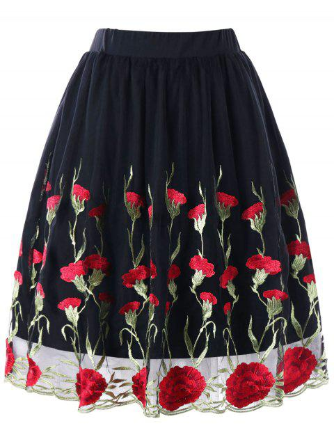 Plus Size Embroidery Floral Skirt - BLACK 3XL