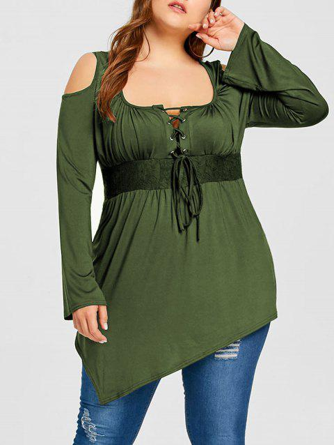 Plus Size Cold Shoulder Lace Up Tee - OLIVE GREEN 5XL