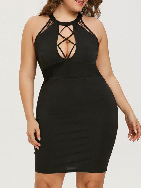 Cut Out Plus Size Mini Bodycon Dress - BLACK 3XL