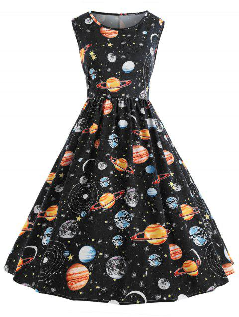 a095baa6af3 59% OFF  2019 Vintage Universe Planet Space Dress In BLACK