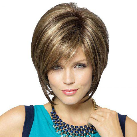 Short Colormix Side Bang Straight Human Hair Wig - COLORMIX
