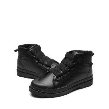 Hook and Loop Cold Weather Boots - LEATHER BLACK LEATHER BLACK