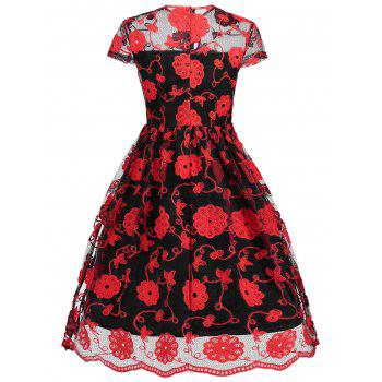 Keyhole Mesh Embroidered Vintage Dress - RED/BLACK M
