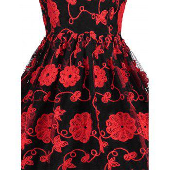 Keyhole Mesh Embroidered Vintage Dress - RED/BLACK XL