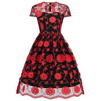 Keyhole Mesh Embroidered Vintage Dress - RED WITH BLACK RED/BLACK