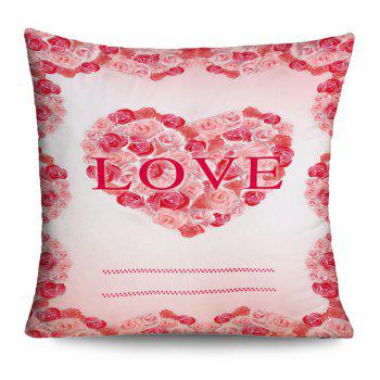 Valentine's Day Roses Love Heart Print Pillow Case - PINK PINK