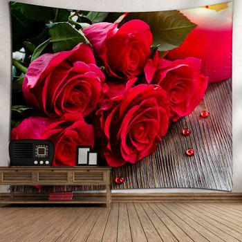 Wall Decor Valentine's Day Roses Print Tapestry - RED W79 INCH * L71 INCH