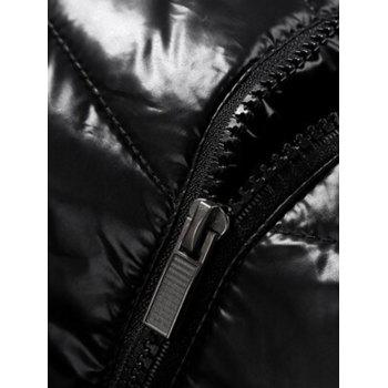 Waterproof Padded Zip Up Jacket - BLACK 2XL