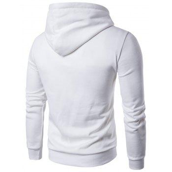 Pouch Pocket Graphic Pullover Hoodie - WHITE M