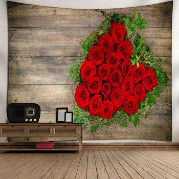 Valentine's Day Roses Wood Grain Wall Decor Tapestry - WOOD COLOR W79 INCH * L59 INCH
