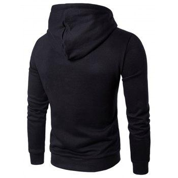 Graphic Print Drawstring Pocket Pullover Hoodie - BLACK M
