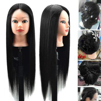 Head Mannequin Clamp Synthetic Long Straight Wig For Practice Training - NATURAL BLACK NATURAL BLACK