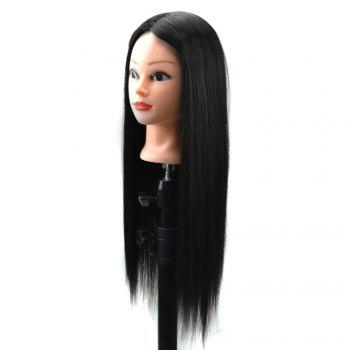 Head Mannequin Clamp Synthetic Long Straight Wig For Practice Training -  NATURAL BLACK