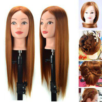 Head Mannequin Clamp Synthetic Long Straight Wig For Practice Training - GOLD BROWN GOLD BROWN