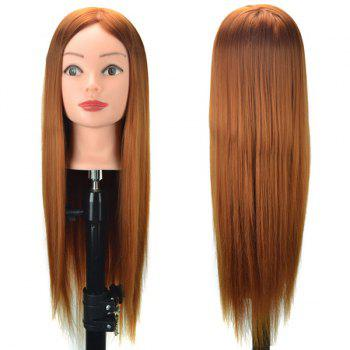 Head Mannequin Clamp Synthetic Long Straight Wig For Practice Training -  GOLD BROWN