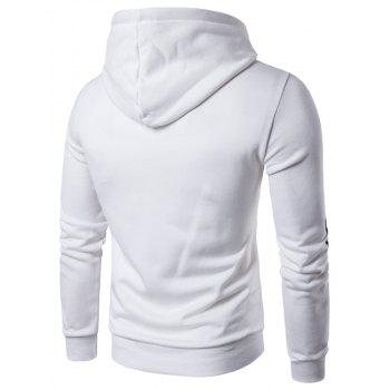 Graphic Print Pocket Pullover Hoodie - WHITE XL