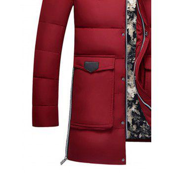 Faux Fur Detachable Hooded Zip Up Pockets Down Coat - RED L
