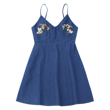 Floral Embroidered Denim Pinafore Mini Dress - DEEP BLUE M