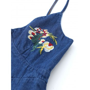 Floral Embroidered Denim Pinafore Mini Dress - DEEP BLUE XL