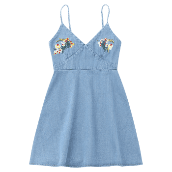Floral Embroidered Denim Pinafore Mini Dress - LIGHT BLUE LIGHT BLUE