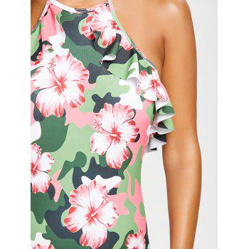 Ruffled Flowers Print Backless Swimsuit - COLORMIX XL