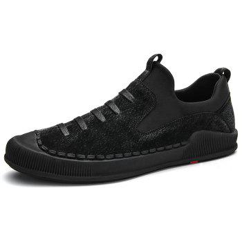 Faux Leather Floral Embroidery Skate Shoes - BLACK 40