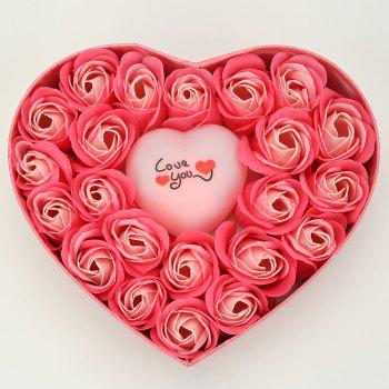 Valentine's Day Gift Led Flash Light Heart and Soap Roses Flowers in a Box - PINK 21*19*4.5CM