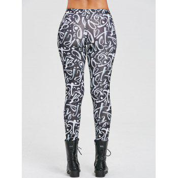 Digital Number Leggings - BLACK XL