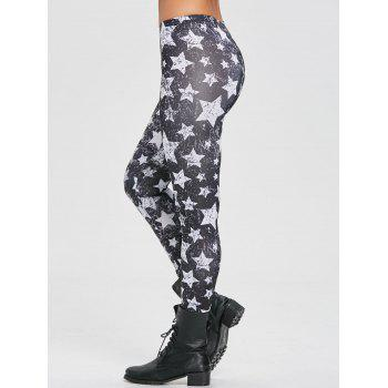 Star Monochrome Leggings - BLACK XL