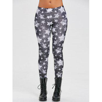 Star Monochrome Leggings - BLACK S