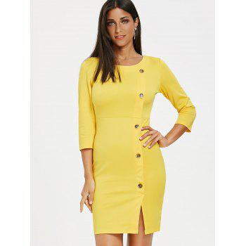 Button Embellished Front Slit Dress - YELLOW S